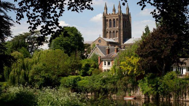 La catedral de Hereford y alrededores, en Inglaterra.