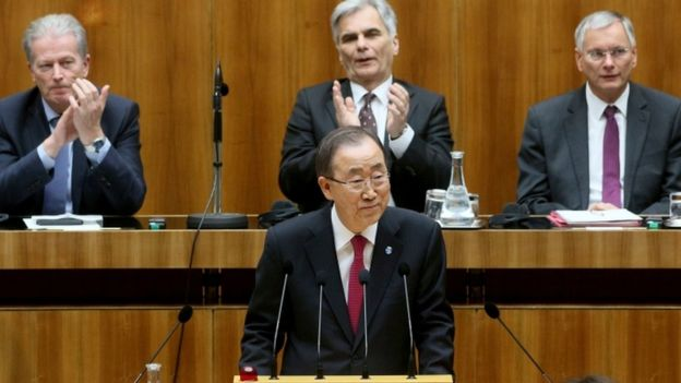 Ban Ki-moon addresses the lower house of parliament in Vienna, 28 April