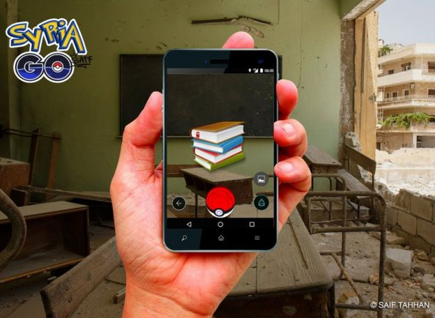 School book symbol onscreen of Syria Go game mock up in middle of bombed out classroom