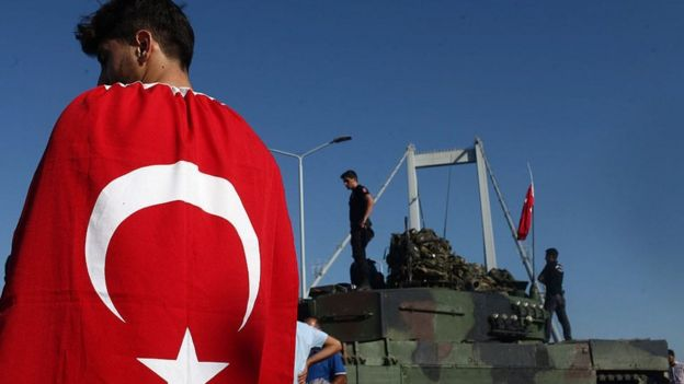 A boy wearing a Turkish flag in a show of loyalty to the state following the failed coup attempt in July 2015