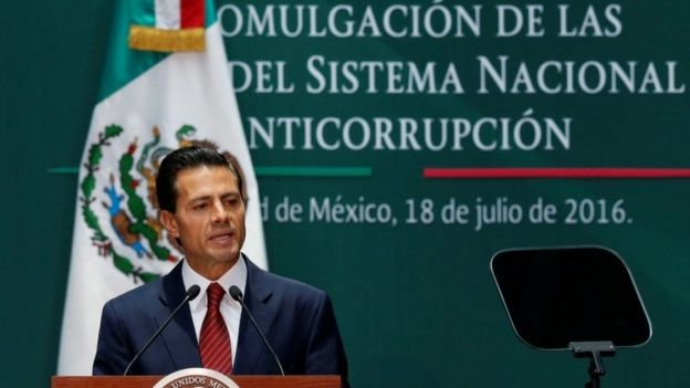 El presidente de México, Enrique Peña Nieto, durante la promulgación de las leyes anticorrupción en julio 18, 2016