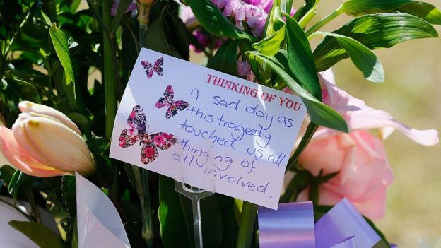 A floral tribute left to the four people killed at Dreamworld