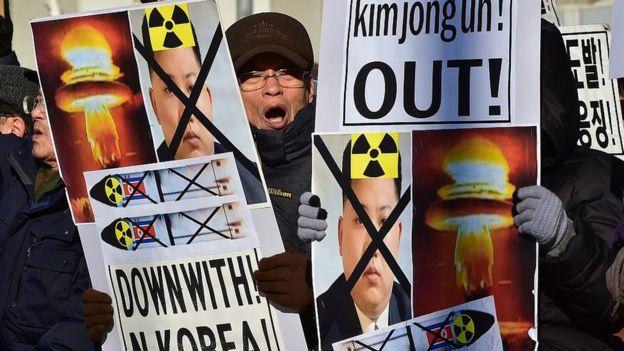 Manifestación en Corea del Sur en contra de Kim Jong un.