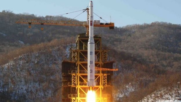 This picture taken by North Korea's official Korean Central News Agency (KCNA) on 12 December 2012 shows North Korean rocket Unha-3, carrying the satellite Kwangmyongsong-3, lifting off from the launching pad in Cholsan county, North Pyongan province in North Korea