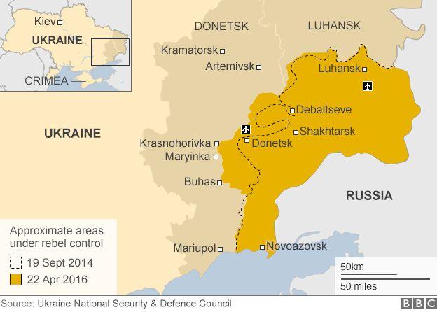 Ukraine map showing rebel-held areas, 22 Apr 16