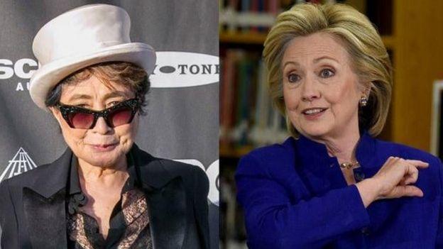 Yoko Ono y Hillary Clinton