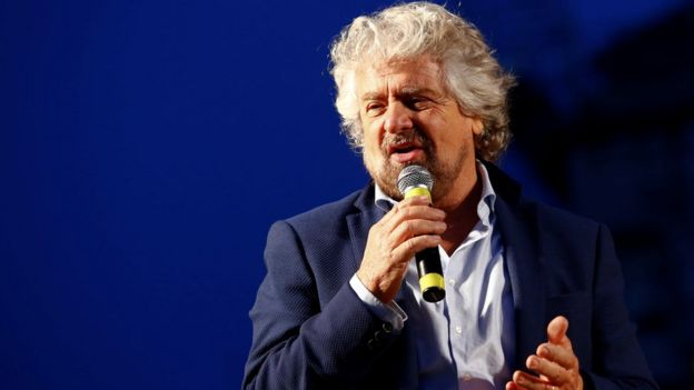 Beppe Grillo del Movimiento Cinco Estrellas