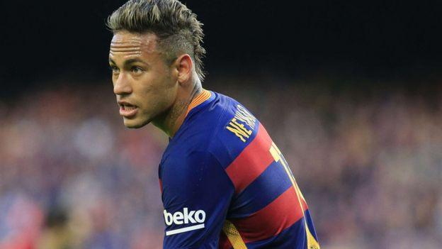 Neymar playing for Barcelona on 30 January