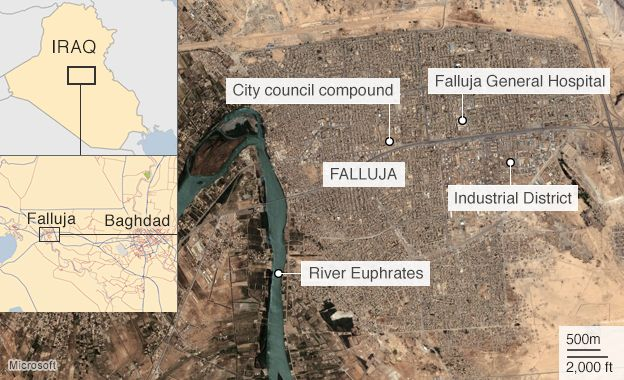 Map of Falluja showing location of city council compound and hospital