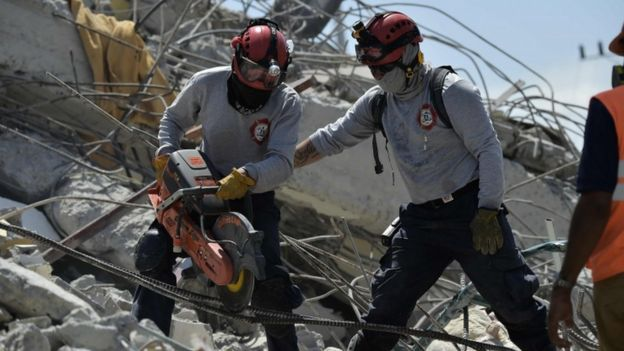 Rescue work following a powerful earthquake in Ecuador