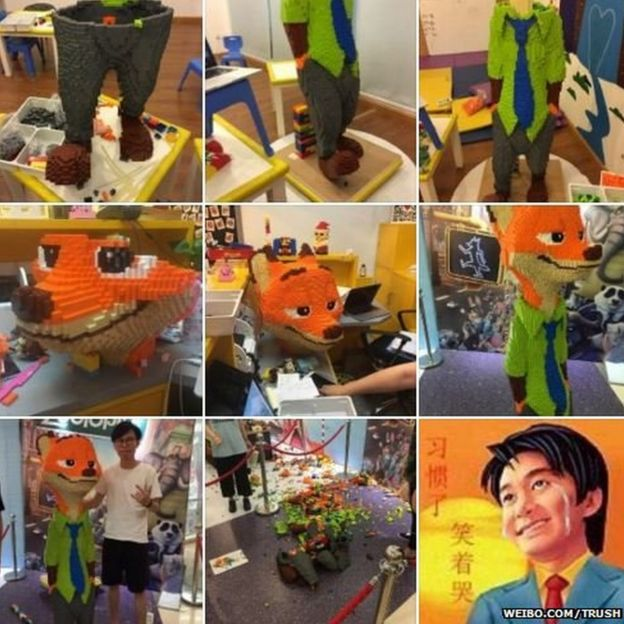 Series of photos from Mr Zhao's Weibo account showing the building of Nick the fox from Zootopia until it got smashed. The last photo is on an animated man smiling while shedding tears.