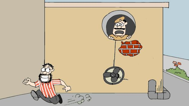 A cartoon shows a man escaping from a police station through the shaft of the toilet