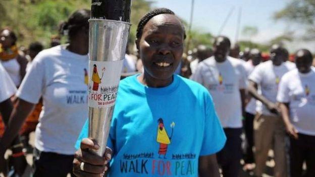 Tegla Loroupe on a Walk for Peace route