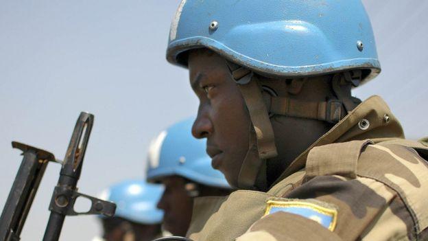 Un casque bleu au Soudan du Sud.