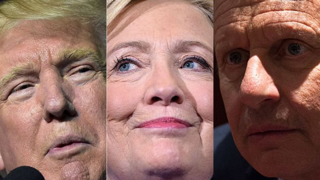 Donald Trump, Hillary Clinton y Gary Johnson en primer plano.