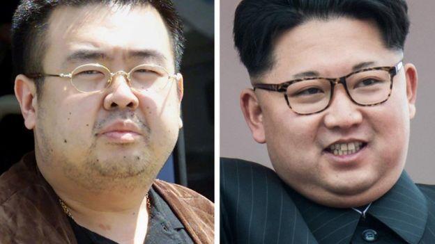 Kim Jong-nam (trái), anh của Kim Jong-un (phải), lãnh tụ Bắc Hàn