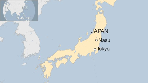 Map showing Nasu in Japan