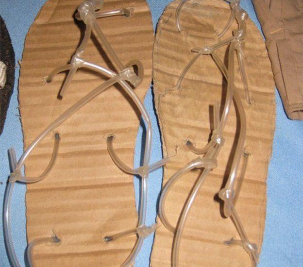 cardboard sandals