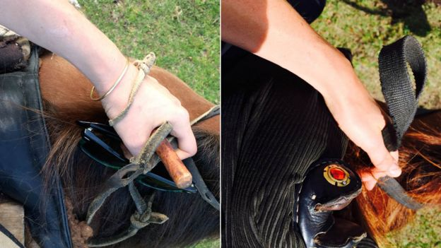 Eloise Dicker's wrist with and without the bracelet