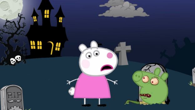 Photo of a copied cartoon of Peppa Pig in a cemetery with a zombie coming out of one of the graves