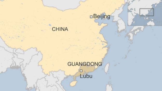 map of China showing Lubu in Guangdong province in the south