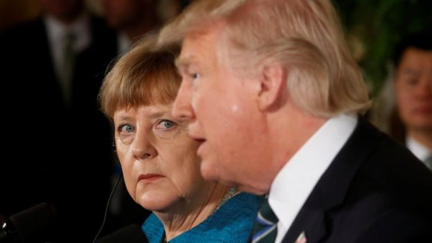 German Chancellor Angela Merkel and US President Donald Trump at a press conference