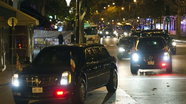 President Obama's motorcade arrives at Bataclan. 29 Nov 2015