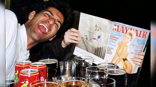 Anjem Choudary drinking as a young man and posing with a pornographic magazine