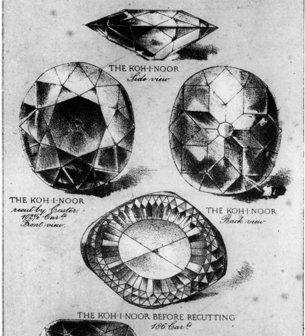 circa 1860: The Koh-i-Noor and Regent or Pitt diamonds seen from different angles.