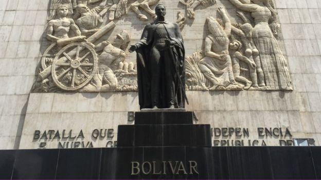 La estatua de Simón Bolívar