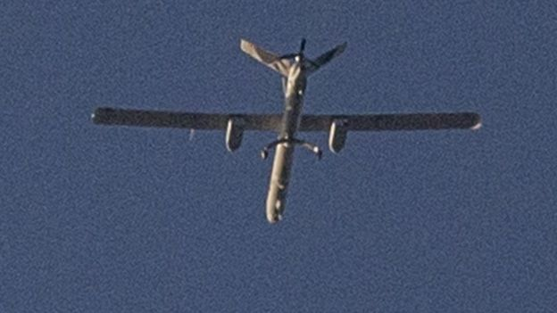 An Israeli drone over the Gaza Strip