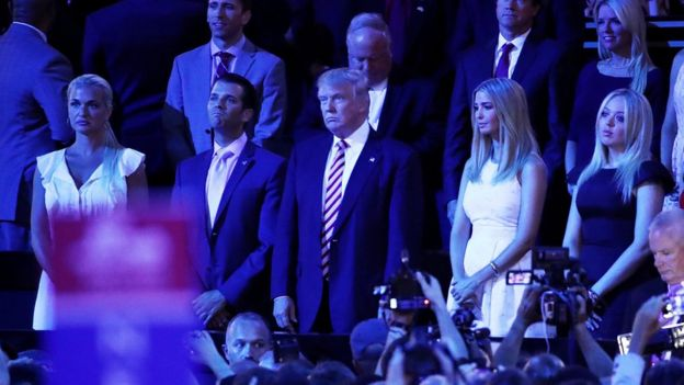 The Trump family reacts to Mr Cruz's speech