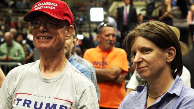 David Rogers with Hilary Andersson at a Trump rally in Fresno, California