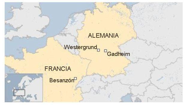 Mapa con las ciudades que fueron centro de la UE.