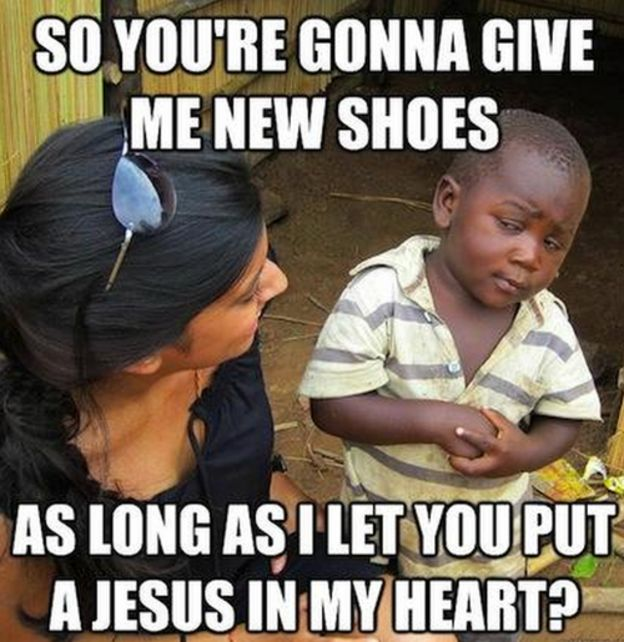 New shoes as long as I put Jesus in my heart?