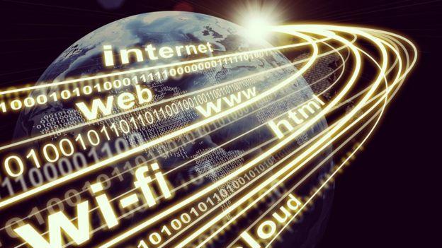 Una ilustración que representa la circulación de internet por el mundo