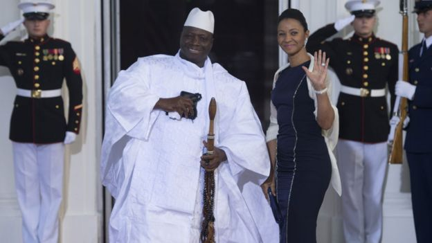 Yahya Jammeh and his wife waves at the White House in 2014.