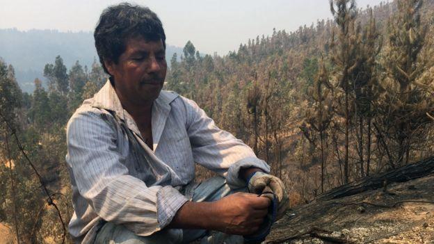 Juan Rojas, damnificado del incendio en Chile.
