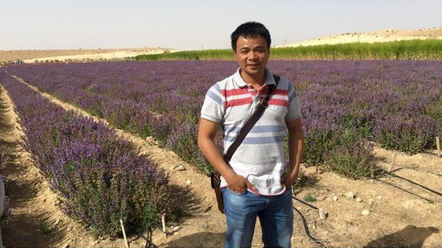 Dinh Anh Huan in a lavendar field