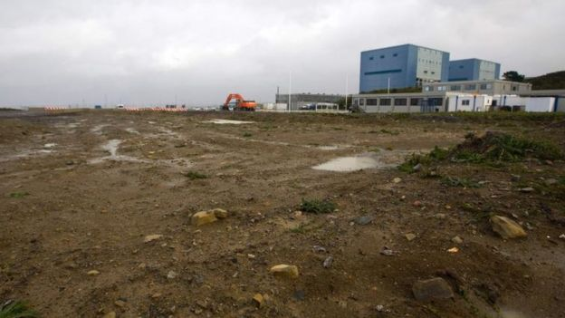 Development land where the reactors of Hinkley C nuclear power station at Hinkley Point will be built