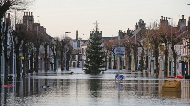 Christmas tree in floods