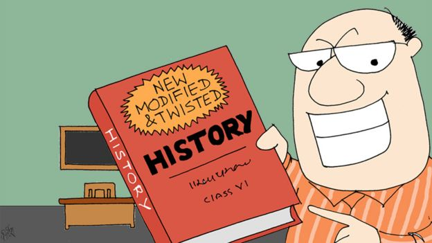 Cartoon of teacher holding book titled 'New Modified and Twisted history'