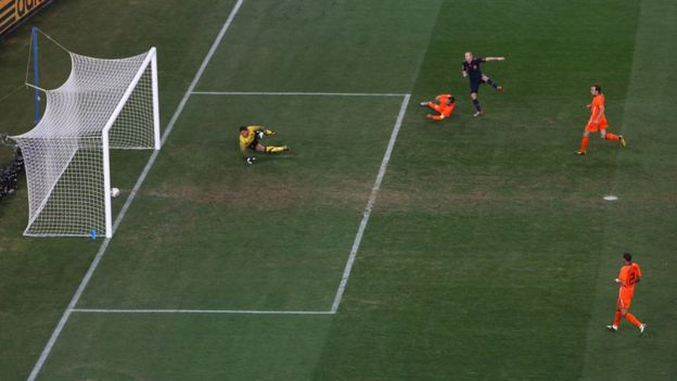 Iniesta scoring the winning goal in the 2010 World Cup final