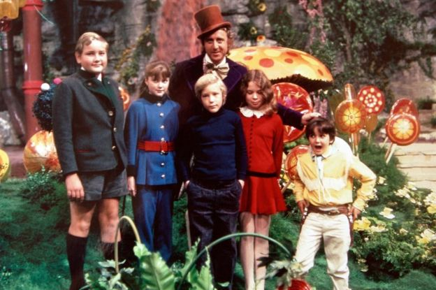 Gene Wilder and the child actors in the 1971 film Willy Wonka & the Chocolate Factory