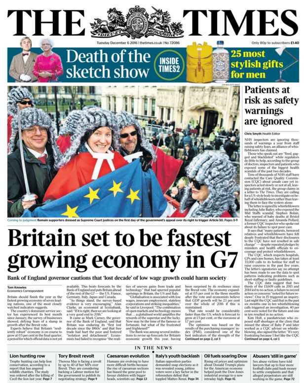The Times front page - 06/12/16