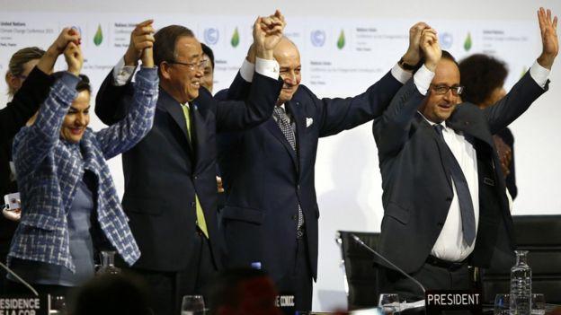 Firma del Acuerdo de París en diciembre de 2015.