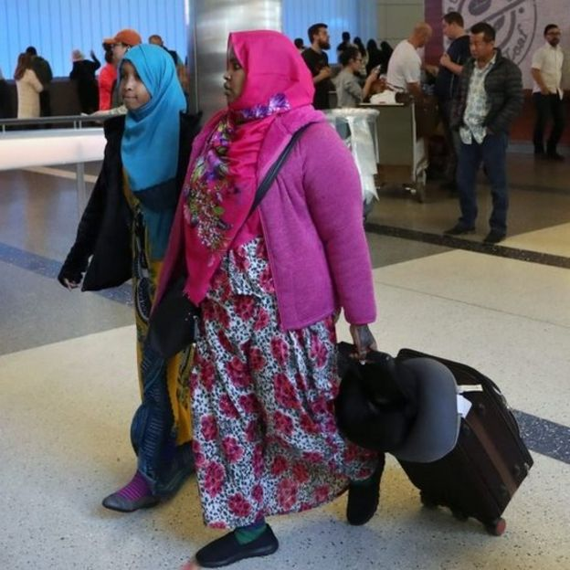 Travellers from the Middle East arrive at Los Angeles airport. Photo: 4 February 2017