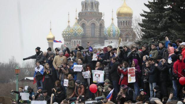 Moskova'daki göstericiler