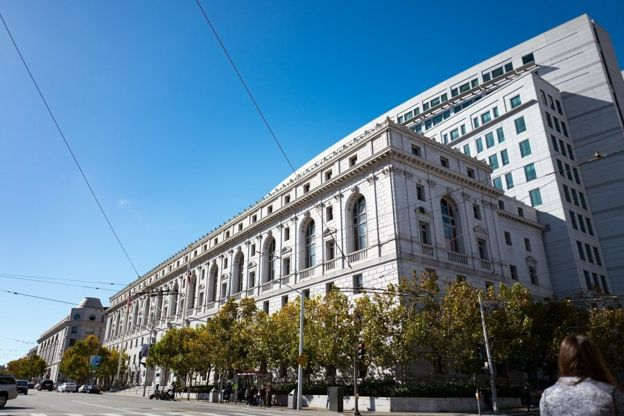 Facade of the Supreme Court of California, in the Civic Center neighborhood of San Francisco, California, October 2, 2016. (Photo via Smith Collection/Gado/Getty Images).