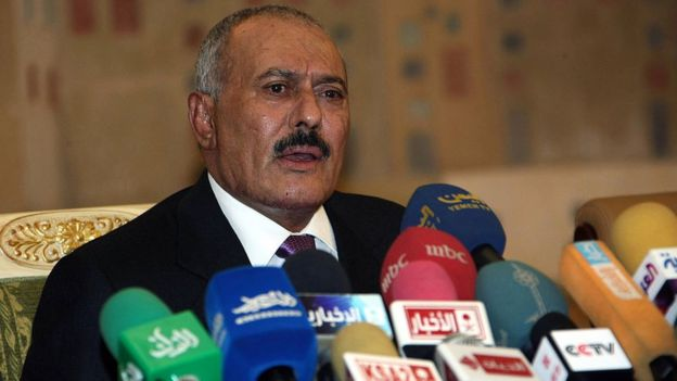 Ali Abdullah Saleh speaks in Yemen's capital Sanaa (24 December 2011)
